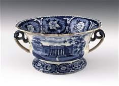 Historical blue Staffordshire Exchange Charlesto