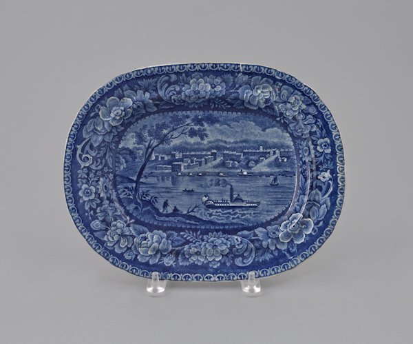 Historical blue Staffordshire Louisville platter