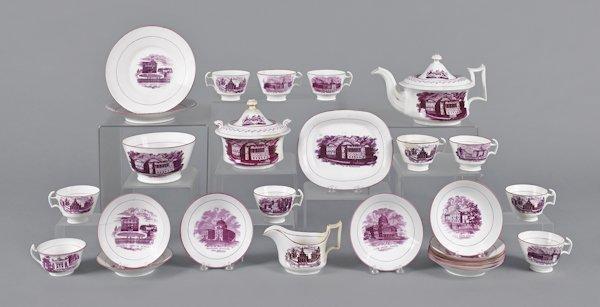 American views mulberry transferware tea service