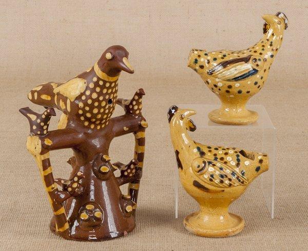 Three English redware bird whistles, tallest -9