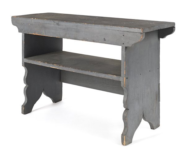 Pennsylvania painted mortised bench, 19th c., r