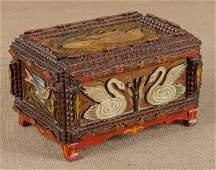 Painted tramp art dresser box, late 19th c., in