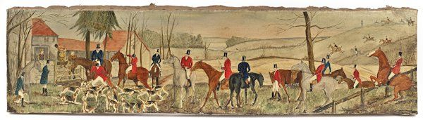 Set of four English oil on canvas fox hunting sc