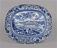 Historical blue Staffordshire platter, 19th c.,