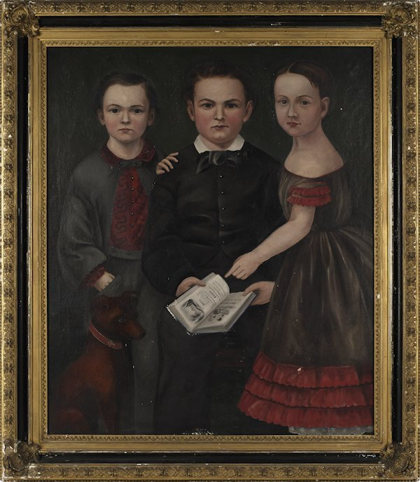 American oil on canvas folk portrait, ca. 1850,