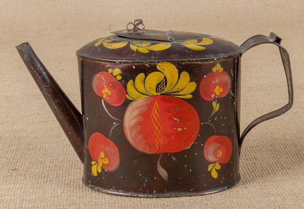Tole barrel form teapot, 19th c., with vibrant