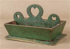 Painted pine knife tray 19th c with a heart