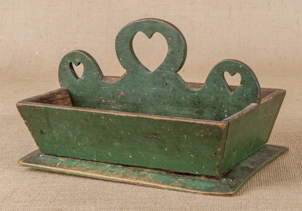 Painted pine knife tray, 19th c., with a heart