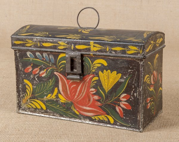 Tole dome lid box, 19th c., with vibrant floral