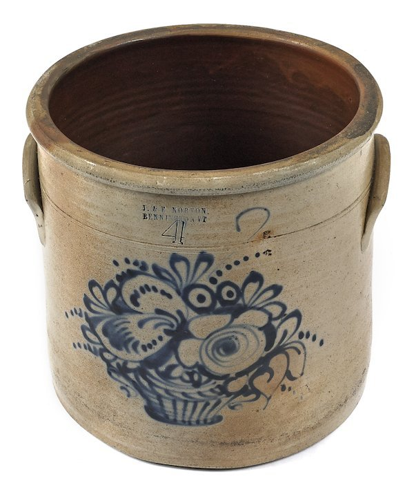 Four-gallon stoneware crock, 19th c., impressed