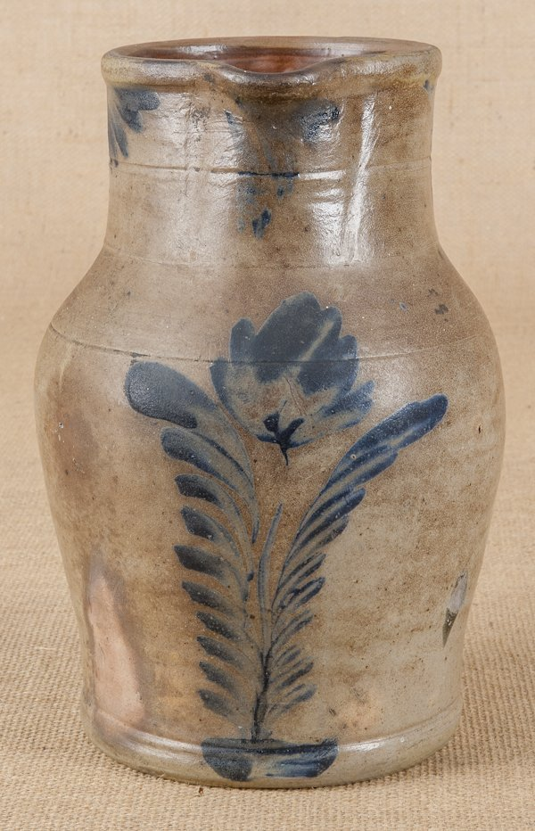 Pennsylvania stoneware pitcher, 19th c., attrib