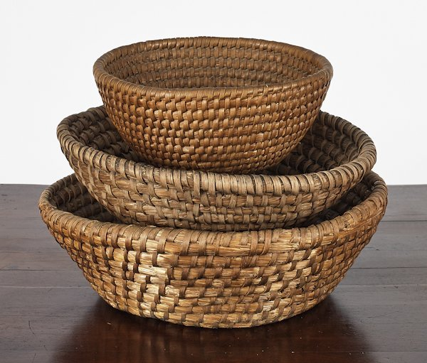 Three Pennsylvania rye straw baskets, 19th c.,