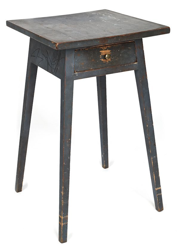 Painted pine splay leg stand, early 19th c., re