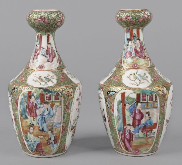 Pair of Chinese export porcelain famille rose va