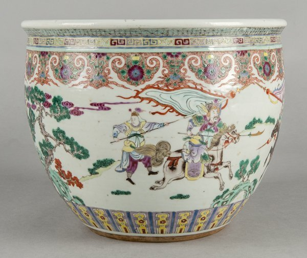 Chinese export rose mandarin porcelain planter,
