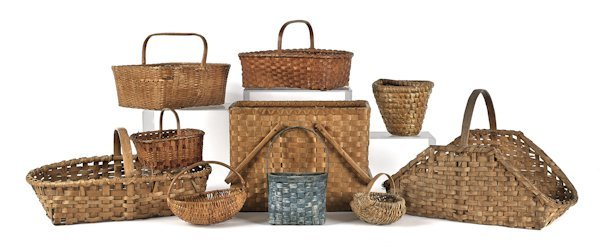 Ten assorted woven baskets, 19th/20th c.