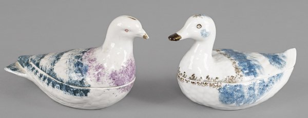 Pair of Russian porcelain covered dishes by Kuzne