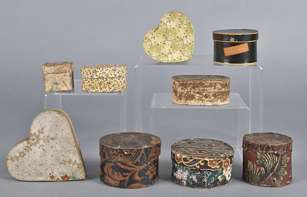 Nine wallpaper dresser boxes, 19th/20th c.