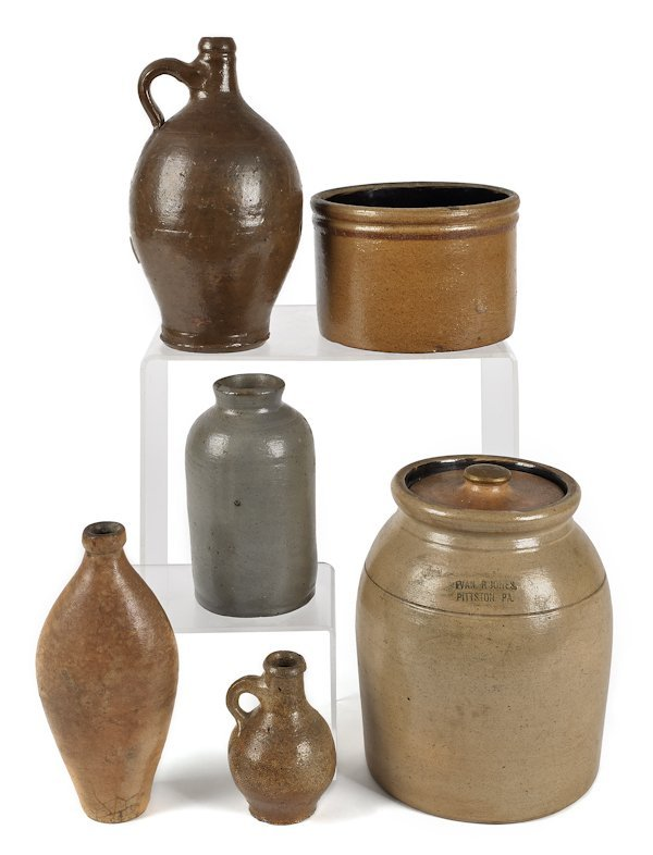 Six pieces of stoneware, 19th c., to include a li