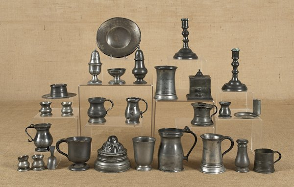 Collection of pewter tablewares, mostly Continent