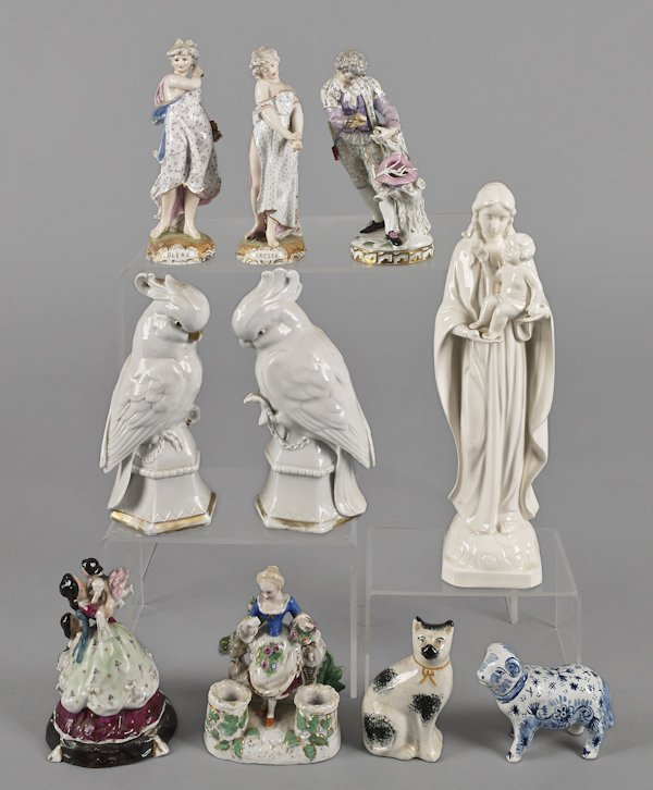 Figural porcelain, to include three Meissen figur