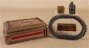 Tramp art box, late 19th c., 5 1/2'' h., 14'' w., t