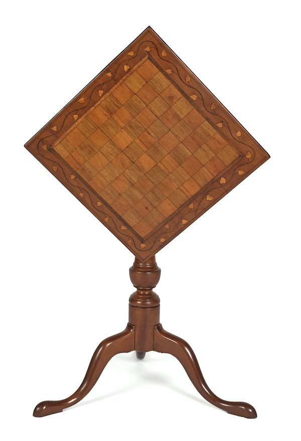 Cherry and mahogany tilt top inlaid game table wi