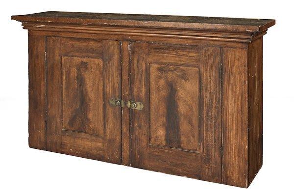Pennsylvania painted pine cupboard top, 19th c.,