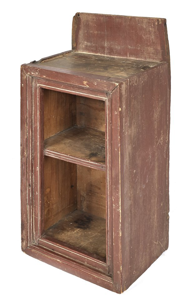 New England painted pine hanging cupboard, early