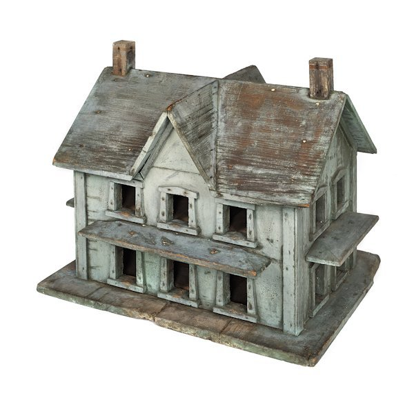 Painted pine bird house cottage, 19th c., 21 1/2''