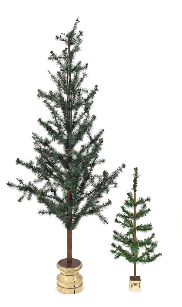 Two German Christmas feather trees, early 20th c.