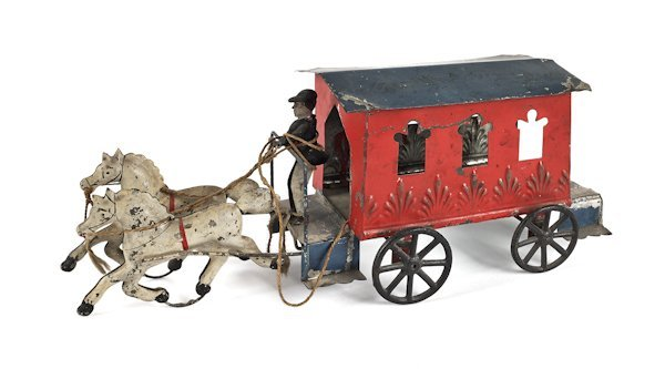 Early American tin horse drawn trolley, 19th c.,