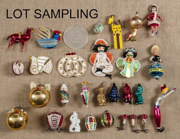 Large group of vintage Christmas ornaments, 20th