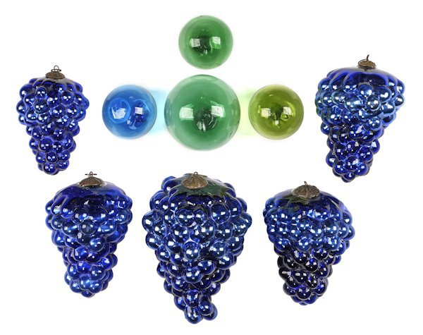 Five kugel cobalt blue grape Christmas ornaments,