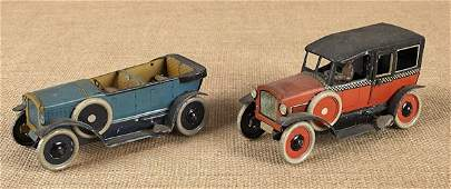 Two German Orobr tin windup limousines early 20