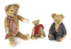 Three mohair jointed teddy bears, early 20th c.,