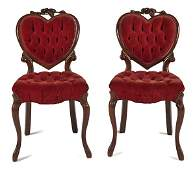 Pair of Victorian carved walnut side chairs, 19th