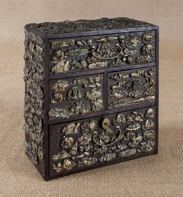Chinese oak valuable chest, 19th c., with appli