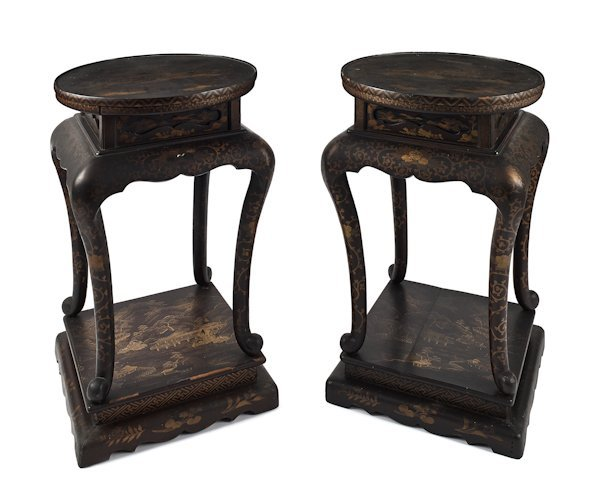 Pair of China Trade gilt lacquer stands, ca. 184