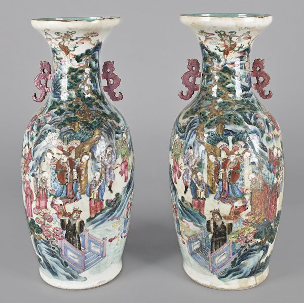 Pair of Chinese export porcelain vases, ca. 1840