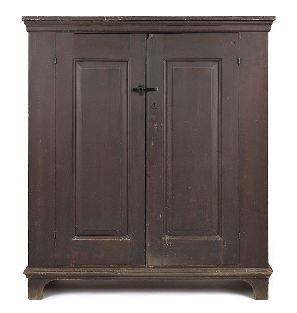 New York gumwood wall cupboard, ca. 1760, with