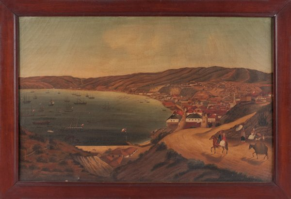 Rare China Trade oil on canvas view of Valparaiso.