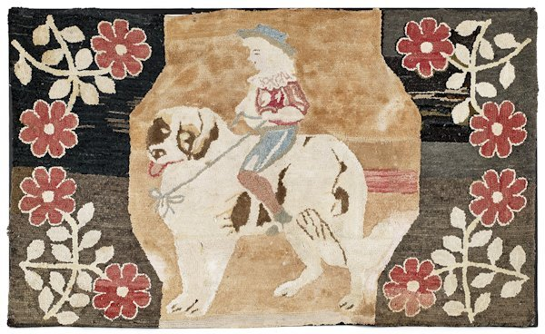 Hooked rug of a young girl riding a dog, ca. 187