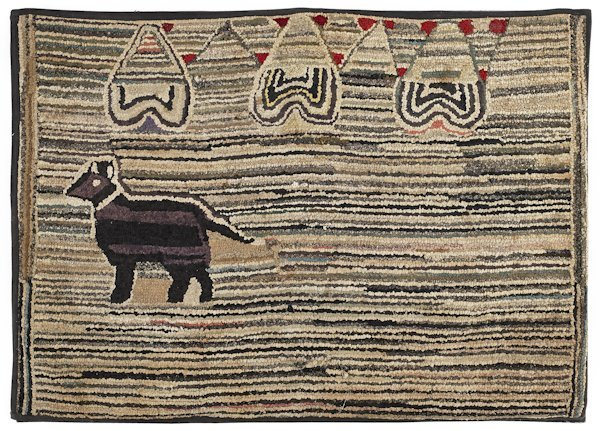Hooked rug of a dog, early 20th c., with a vari