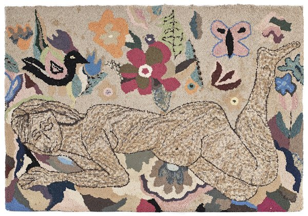 Hooked rug, after Matisse, of a nude figure, 41