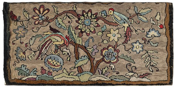 Hooked rug of parrots perched in a tree, 20th c.