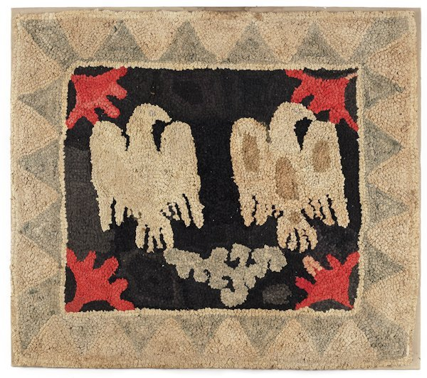 New York hooked rug of ''Two Eagles'', ca. 1880,