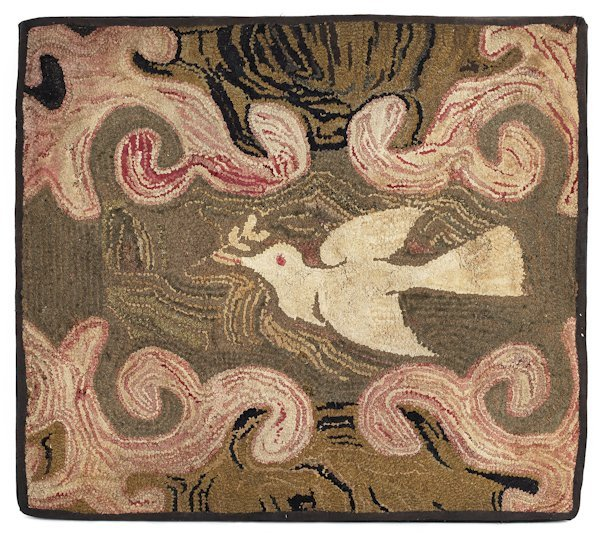 American hooked rug of a dove, 19th c., in flig