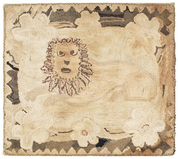 Hooked rug of a recumbent lion, early 20th c.,