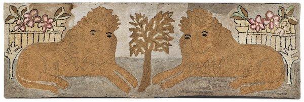 Connecticut hooked rug of opposing recumbent lio